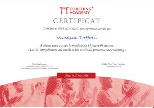 Certificat formation coaching vanessa toffoli